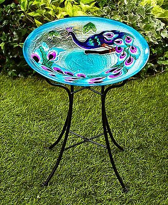 Glass & Metal Peacock Bird Bath Birdbath Yard Garden Decor NEW