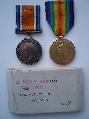 WW 1 Boxed British War and Victory Medals to Pte. W.J.Tanner West Yorks Regt.
