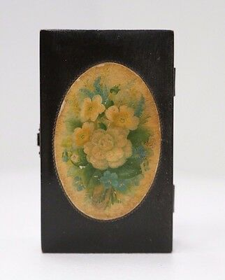 Antique Large Wooden Mauchline Ware Trinket Box - Petite Floral Bouquet on lid