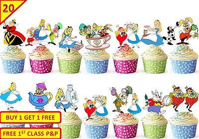 40 Alice In Wonderland Cup Cake Edible Wafer Toppers Party Decorations Stand up