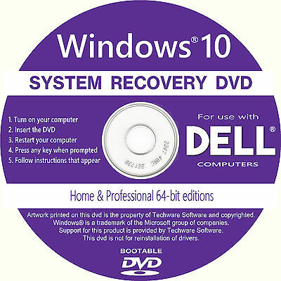 DELL Windows 10 Home & Professional Recovery Repair Full Install DVD Software