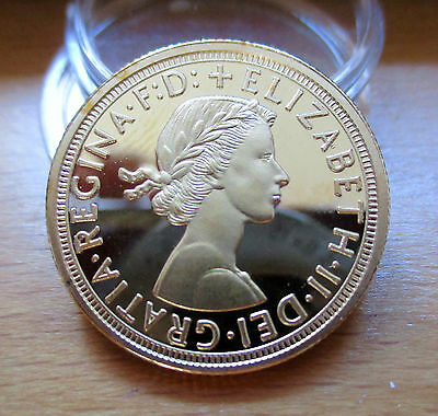 1963 Queen Elizabeth Sovereign Coin 999. 24k Pure Gold Plated Beautiful Coin