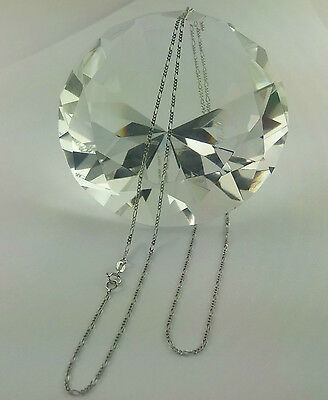 chain 20 inch 10K Solid White Gold Figaro necklace