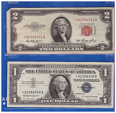 1-1953 Star 2 Dollar Red Seal And 1-1957 $1 Star Silver Certificate Lh985