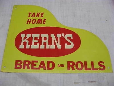 Vintage Kerns Bread and Rolls Country Store Door Push Advertising Sign Original