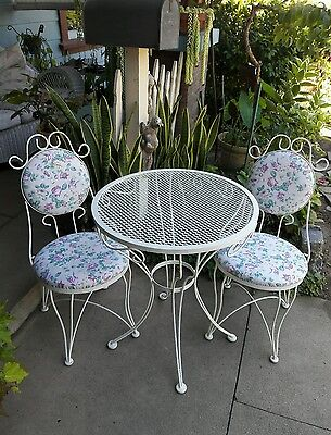 *3 Pc Vintage WHITE Wrought IRON BISTRO SET ROSES Cottage Chic TABLE & CHAIRS*