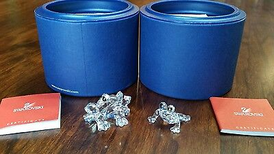 Lot of 2 Swarovski Crystal Small and Baby Frogs w/ boxes & COA's