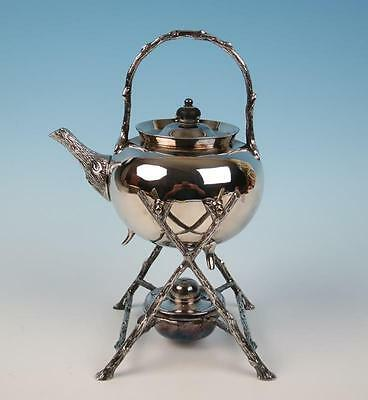 Antique Sheffield Fenton Brothers Silver Plate Spirit Kettle & Stand Tilting Tea