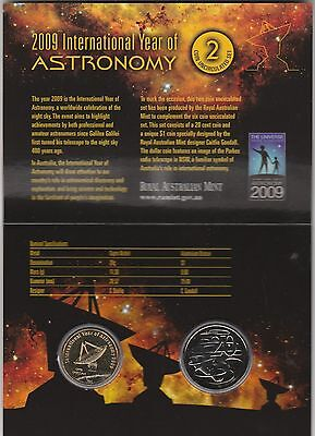 2009 International Year of Astronomy 2 coin UNC Royal Aust Mint set