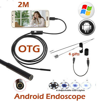 7mm Waterproof Android Endoscope 2M USB Endoscope Camera Inspection Borescope