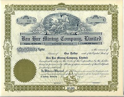 Ben Hur Mining Company, Limited Stock Certificate Saltese Montana