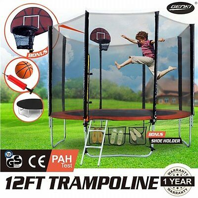 NEW 12FT GENKI Trampoline Basketball Set and Safety Net with Spring Pad Cover