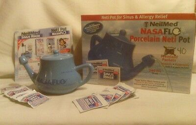 NASAFLO Porcelain Neti Pot by NeilMed for Sinus Relief, New in Box