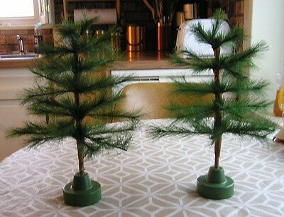 Set 2 Green Faux Silky Feather Tree Christmas Tabletop Wrapped Trunk 12.5""