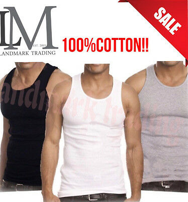 MENS New LOT Of 6 3 Tank Top 100% Cotton A-SHlRT Wife Beater Ribbed Undershirt