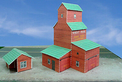 N Scale Building - Grain Elevator Cover Stock Paper Kit Pre-Cut
