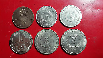 East Germany 5, 10, 20 mark coins