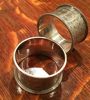 pair of Beautiful vintage Silver Plated Napkin Rings 2.3cm x 4.5cm
