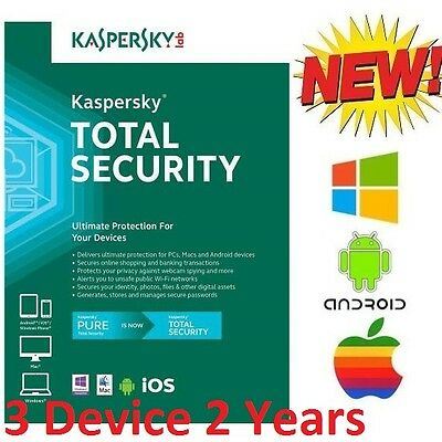 Kaspersky Total Security Multi 3 Device 2 Year License Windows Android Mac iOS