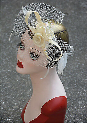 Womens Sinamay Fascinator Cocktail Hat Church Party Wedding Veil Headwear A356