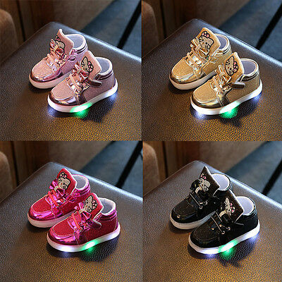 Kids Boys Girls Light Up LED Luminous Trainers Shoes Baby Outdoor Sport Sneakers