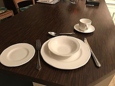 48 Catering Dinner Place Settings - Crockery and Cutlery