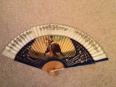 Vintage 1950s Wood and Fabric Spanish Fan