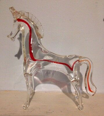 Large Blown Glass Horse Figurine Italian 1960s  Great Present