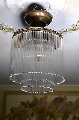 Ceiling Lamp Chandelier Art Deco Art Noveau Office Bedroom Lamp Glass Brass