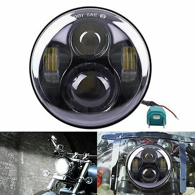 "7"" Universal Motorcycle Car Hi-Lo Beam Round LED Headlight Light For Harley Jeep"