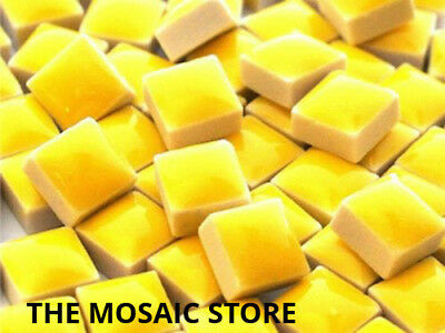 Yellow Square Ceramic Tiles 1cm - Mosaic Art & Craft Supplies