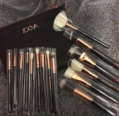 NEW ROSE GOLDEN ZOVA MAKE UP BRUSHES COMPLETE SET MAKEUP BRUSH+CLUTHBAG cosmetic