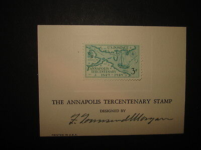 United States (USA) : 1949 3c Annapolis Tercent : Signed by Designer