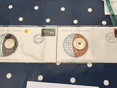 Cook Island and Papua New Guinea coins of all nations FDC's with coin