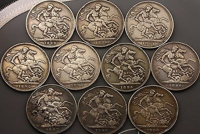 1889-1900 Queen Victoria Crowns sterling silver coins [10] total