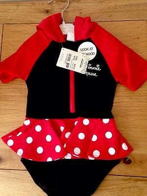 Disney Baby Girl Minnie Mouse Hooded UV Swimming Suit Costume  18 - 24 months