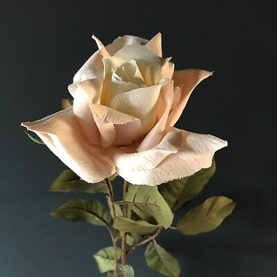 Cream Blush Pink Faux Silk Rose. Artificial Light Dusky Pink Ivory Roses Flowers
