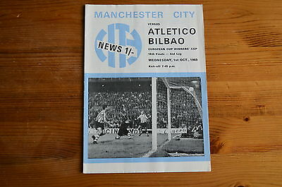 MANCHESTER CITY v ATLETICO BILBAO 1969 CUP WINNERS CUP FOOTBALL PROGRAMME