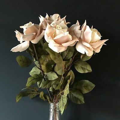 Bunch of 5 Cream Blush Pink Faux Silk Roses. Artificial Light Pink Ivory Flowers