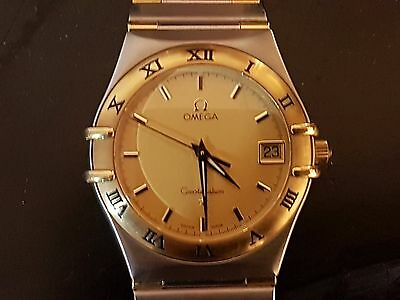 Mens Omega Constellation 18K Gold & SS Watch - Gold Dial