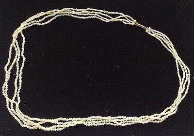 Victorian Early 19th Century Natural Seed Pearl Necklace Gold Clasp Excellent