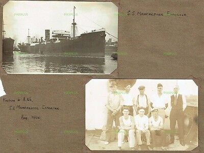 Shipping Postcards S.s Manchester Exporter & Crew Real Photos On Album Page 1930