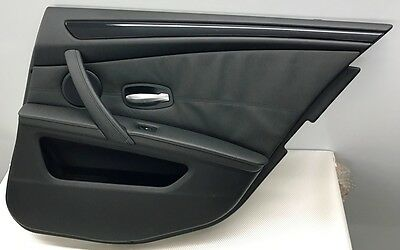 Bmw 5 Series E60 Lci 2007 - 10 Driver Side Rear Leather Black Door Card Panel