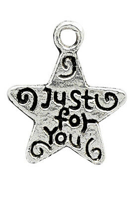 Job lot 50 x Star Silver Tone Charm Beads,  Approx size 14mm x 12mm - UK Seller