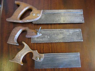 job lot 3 x VINTAGE  Hand Saws, carpentry hand tools tenon saw woodworking