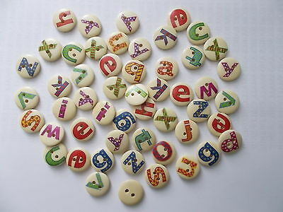 100 Assorted Wood Buttons Mixed Letters Sewing-Scrapbook-Crafts