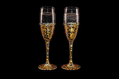 Gold Hand Painted Wedding Champagne Flutes Glasses with Broche