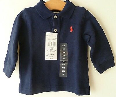 New Authentic Ralph Lauren Navy Baby Boys Age 6M  Long Sleeve Polo Top  RRP £40
