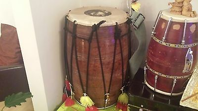 Large Giant magnificent expensive wooden Dhol Tali Drum Instrument