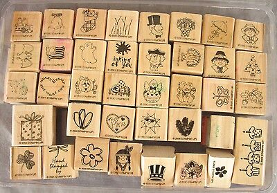 Lot of 38 Mini Rubber Stamps Holidays VARIOUS